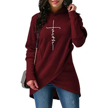 Urban Style Sophisticated Woman's Autumn Faith Inspired Hooded Sweatshirts