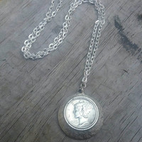 1942 mercury dime. Coin necklace. Dime necklace. Silver dime. Coin  jewelry. Recycled coin. Real silver coin from 1942.