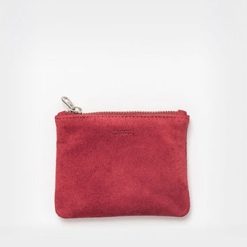 Small Leather Flat Pouch Ruby Suede