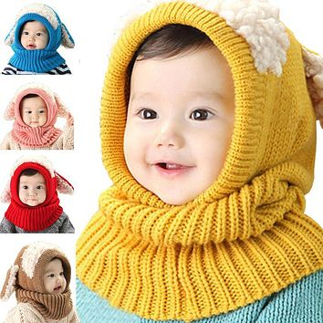 Novelty Wool Hat Cute Child Puppy Cashmere Ears Beanie Shawl Hat One-piece Neck Warm Winter Hat For Boy & Girl Baby