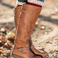 Lace-Trimmed Boot Cuffs-Burgundy