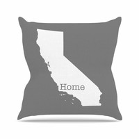 "Bruce Stanfield ""California Is Home"" Gray White Throw Pillow"