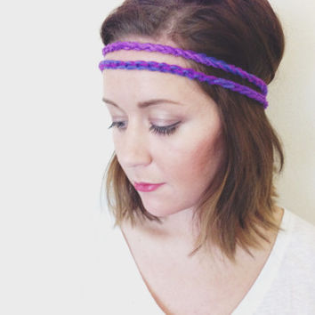 Crochet Headband Double Braid Hair Band Hippy Style Hairwrap