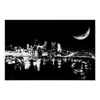 City At Night Moon light black and white Art Poster