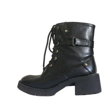 90s Grunge Boot Women Military Boot Black Platform Boot 90s Goth Boot Lace Up Boot 90s Chunky Heel Women Boot Combat Boot Block Heel Boot