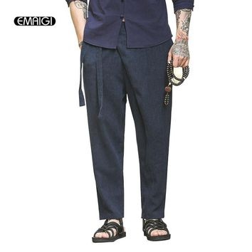 High Quality Cotton Linen China Retro Male Casual Pants Men Fashion Loose Harem Pant Solid Color Trousers