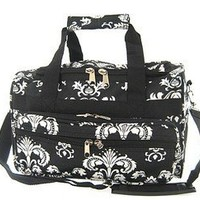 "Small 13"" Little Girls Damask Print Duffle Dance Cheer Bag Black White"