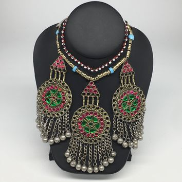 Kuchi Necklace Ethnic Afghan Tribal Multi-Color Glass Jingle bell Necklace NK09
