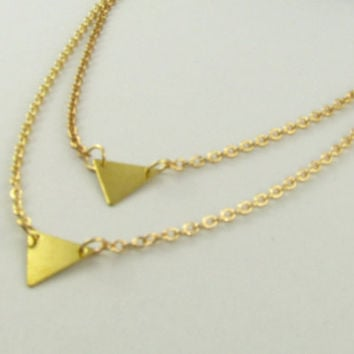 Triangles Delicate Necklaces/ Gold Layered Necklace Set / Minimal, Simple Everyday Necklaces