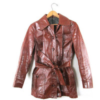 Wms Vintage 70's COGNAC Brown LEATHER Retro Belted Mid Length Jacket Sz M