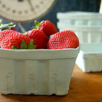 Set of 4 Porcelain Berry Baskets- Large