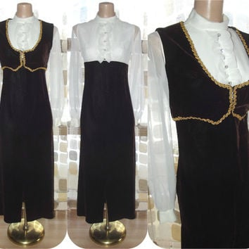 Vintage 60s Velvet Sheer Sleeve Poets Blouse Maxi Dress XS/ S Bolero Jacket Vest Set 70s