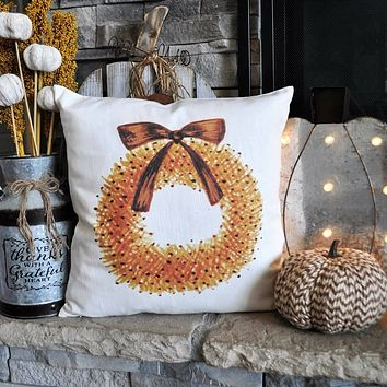 Fall Wreath with Bow Pillow Cover