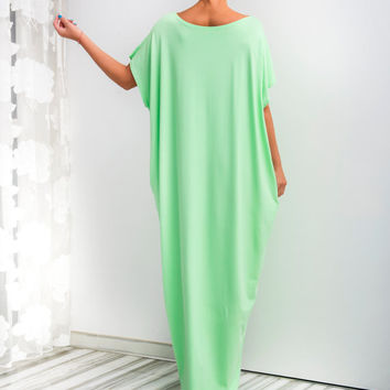 Baby Green Maxi Dress, Caftan, Abaya, Summer Dress, Green Plus-Size Dress, Beach Dress, Beach Cover-Up