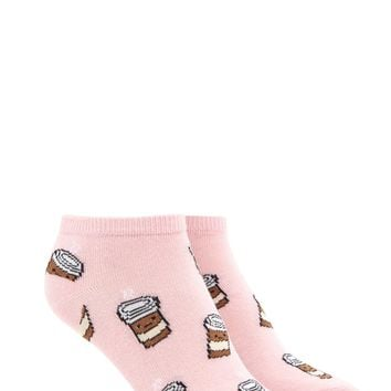 Coffee Cup Print Ankle Socks
