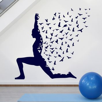 Large Vinyl Decal Yoga Pose with Birds Flying Human Body Yoga Poster (n942)