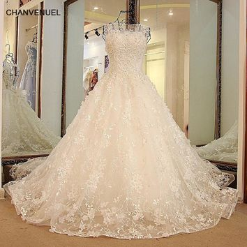 LS32789 Halloween wedding gown with Train Backless Ball Gown Tulle Beaded Puffy Lace Wedding Dresses Ivory Pink Blue Real Image