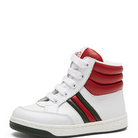 Ronnie Junior Leather High-Top Sneaker, White/Red/Green, Toddler - Gucci