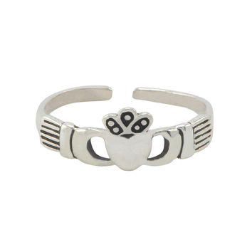 Sterling Silver Thin Plain Irish Claddagh Toe Ring Adjustable