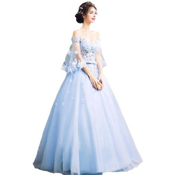 Fashion New Romantic Blue Flower Fairy Evening Dress Bride Banquet Lace with Beading Butterfly Sleeves Long Party Gowns