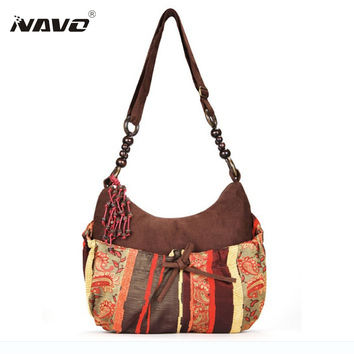 Ethnic shoulder bag long strap bohemian style cross body bags women vintage messenger bag Boho style Suede Bags  CY-1