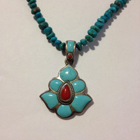 """Peyote Bird Turquoise Red Coral Sterling Necklace Adjustable 16"""" 18.25"""" Silver 925 Vintage Jewelry Southwestern Valentine's Mother's Gift"""