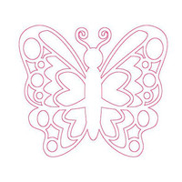 Butterfly Bumper Sticker - Hot Pink Outline Car Decal - Window Cling