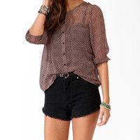 Sheer Abstract Print Button Up