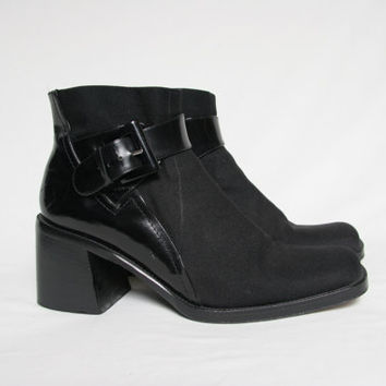 Vintage Chunky Black Ankle Boots - Patent Leather and Neoprene - Made In Italy - Minimal Minimalist - Buckle Boots - Via Spiga - 90s 1990s