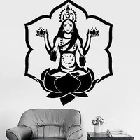 Wall Sticker Buddha Goddess Lakshmi lotus Om Meditation Vinyl Decal Unique Gift (z2914)