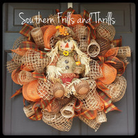 Scarecrow Deco Mesh and Jute Fall Wreath