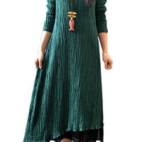 Green Texture Layered Irregular Maxi Dress
