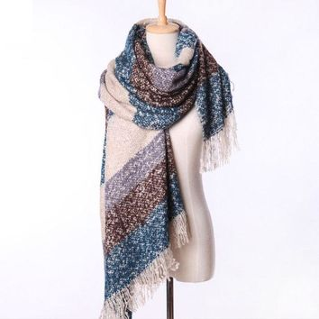 DCCKJG2 Fashion Scarf Loop yarns Mohair Striped Soft Top Quality Cashmere Winter Warm Shawl for women Free Shipping