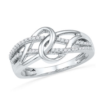 10kt White Gold Womens Round Diamond Infinity Loop Knot Strand Ring 1/6 Cttw 101525