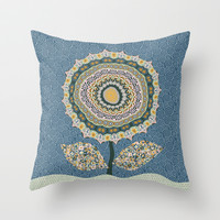 Fabby Flower-Mineral colors Throw Pillow by Groovity