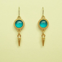 Blue Earrings, Clear Blue Green Disc Earrings with Gold Stud Charms, Blue Resin Round Earrings, Hypoallergenic, Resin Jewelry For Her