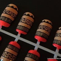 Nude & Neon Aztec / Tribal Handpainted Nail Art Set