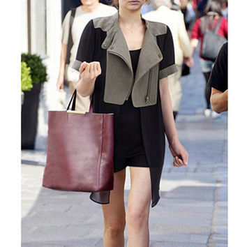 Black Short Sleeve Notched Collar Coat Dress