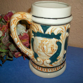 Beverage Stein German Style Ceramic Beer Mug Made in Occupied Japan Rare Vintage Collectible Home Bar Decor Breweriana