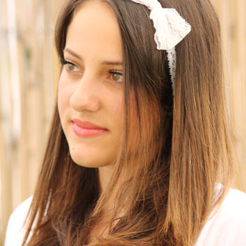 White Lace Headband with Ivory White Bow, Elastic Headband ,Wedding Hair, Bridesmaids hair, Hair piece, Women  Accessories, Thin head