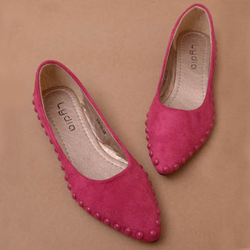 Cute Rivets Genuine Leather Pointed Toe Flats