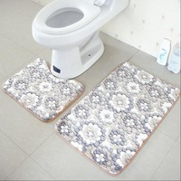 2pcs set PVC Mesh Thicken Coral Fleece Floor Bath Mats Set Non Slip Bathroom Toliet Rugs 40*50+50*80cm Water Absorption Carpet