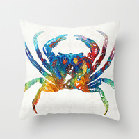 Colorful Crab Art by Sharon Cummings Throw Pillow by Sharon Cummings