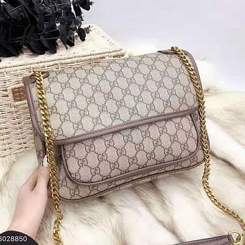 GUCCI High Quality Popular Women Shopping Bag Leather Metal Chain Shoulder Bag Crossbody Satchel