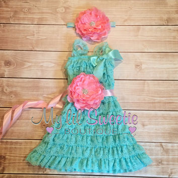 Light aqua and pink dress, sash , 3pc set , headband, Lace dress, baby girl outfit, special occasion dress, toddler dress, girls dress,