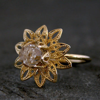Bridal Wedding Ring Gold RingGold Filigree by gazellejewelry