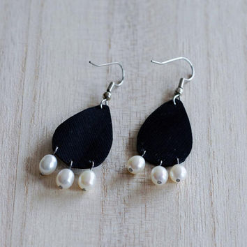Bicycle inner tube drop earrings as black and white chandelier jewelry black raindrop earrings large teardrop earrings with 3 white pearls