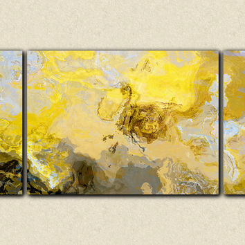 "Abstract art print triptych oversize canvas print, in yellow, gray and white, ""Mellow Yellow"", 30x60 to 40x78"