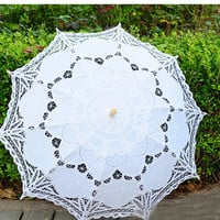 Free Shipping Lace Manual Opening Wedding Umbrella Bridal Parasol Umbrella Accessories For Wedding Bridal Shower Umbrella SA853