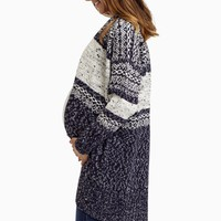 Navy-White-Knit-Oversized-Maternity-Cardigan